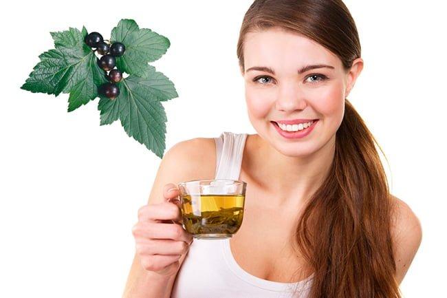 Девушка принимает чай со смородиновым листом